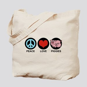 Peace Love Piggies Tote Bag