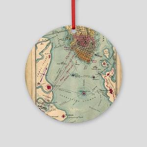 Vintage Charleston SC Civil War Map Round Ornament