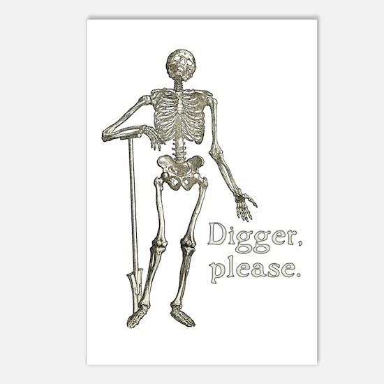 Digger, Please Funny Skeleton Postcards (Package o