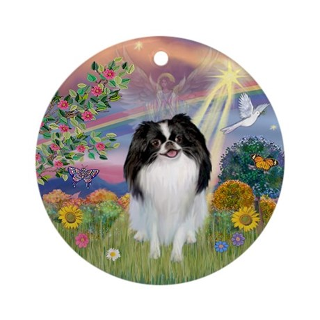 Cloud Angel & Japanese Chin Ornament (Round)