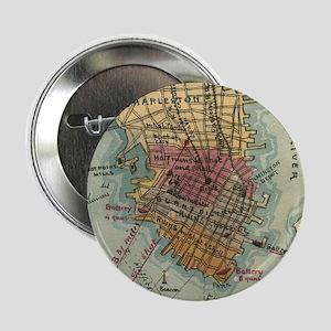 """Vintage Charleston SC Civil War Map ( 2.25"""" Button"""