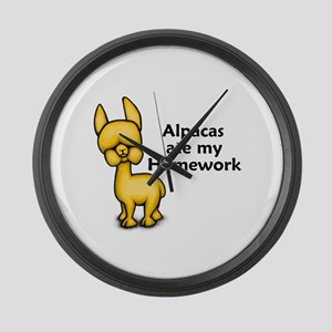 Alpacas ate my Homework Large Wall Clock