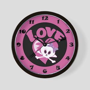 Love Skull Wall Clock