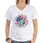 America Free and Brave Women's V-Neck T-Shirt