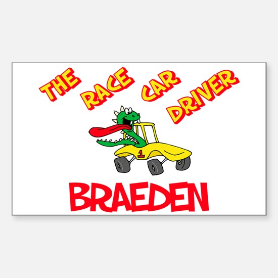 Braeden Race Car Driver Rectangle Decal