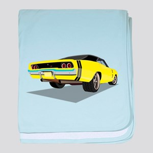 1968 Charger in Yellow with Black Top baby blanket