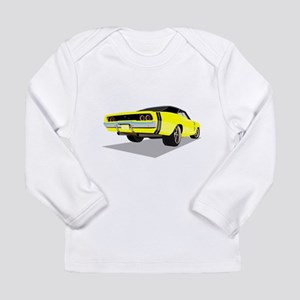 1968 Charger in Yellow with Bl Long Sleeve T-Shirt