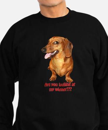 Looking at My Wiener Dachshun Sweatshirt (dark)