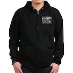 St Francis/Shar Pei #5 Zip Hoodie (dark)