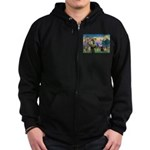 Saint Francis & Two Pugs Zip Hoodie (dark)