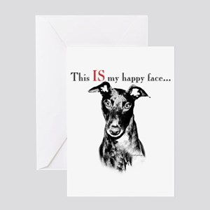 Greyhound Happy Face Greeting Card