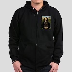 Mona Lisa & Affenpinscher Zip Hoodie (dark)