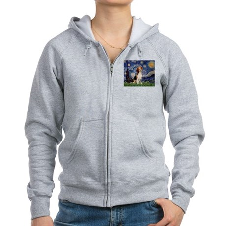 Starry Night & Beagle Pup Women's Zip Hoodie