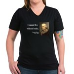 Thomas Jefferson 27 Women's V-Neck Dark T-Shirt