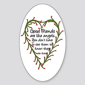 Friends Are Like Angels Oval Sticker
