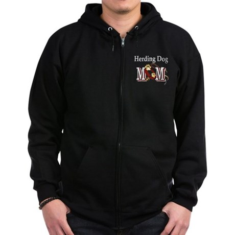Herding Dog Mom Zip Hoodie (dark)