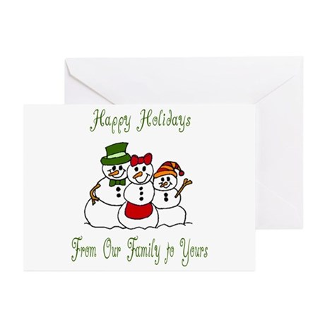 Snowman Family Holiday Wishes Greeting Cards (Pk o