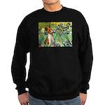 Basenji in Irises Sweatshirt (dark)