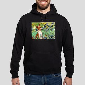 Basenji in Irises Hoodie (dark)