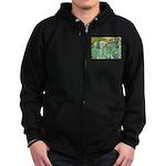 Irises /Bedlington T Zip Hoodie (dark)