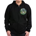 Bridge / Catahoula Leopard Dog Zip Hoodie (dark)