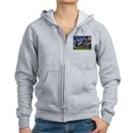Starry Night Dachshund (Wire) Women's Zip Hoodie