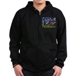 Starry Night Dachshund (Wire) Zip Hoodie (dark)