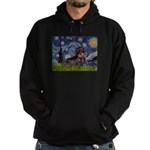 Starry Night Dachshund (Wire) Hoodie (dark)