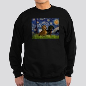 Starry Night Doxie Pair Sweatshirt (dark)