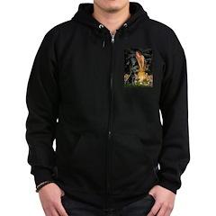 Fairies & Black Lab Zip Hoodie (dark)