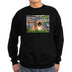 Lilies / Pekingese(r&w) Sweatshirt (dark)