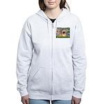 Lilies / Pekingese(r&w) Women's Zip Hoodie