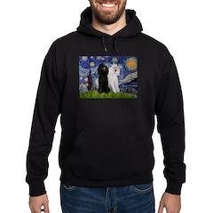 Starry Night / 2 Poodles(b&w) Hoodie (dark)