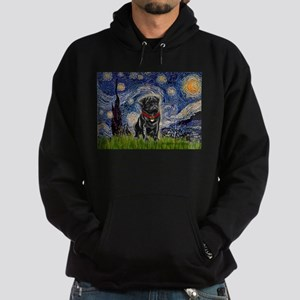 Starry Night / Black Pug Hoodie (dark)