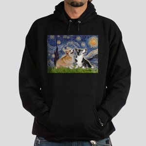 Starry Night / Corgi pair Hoodie (dark)