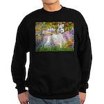 Whippet in Monet's Garden Sweatshirt (dark)
