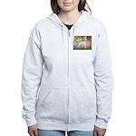 Whippet in Monet's Garden Women's Zip Hoodie