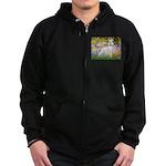Whippet in Monet's Garden Zip Hoodie (dark)