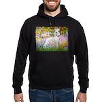 Whippet in Monet's Garden Hoodie (dark)