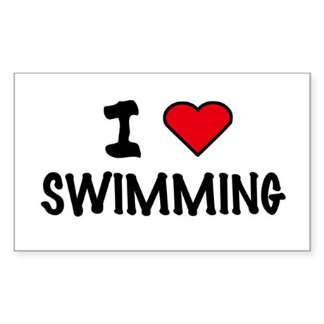 I LOVE SWIMMING Rectangle Sticker