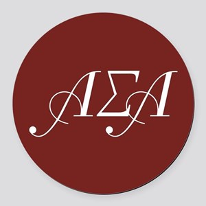 Alpha Sigma Alpha Letters Round Car Magnet