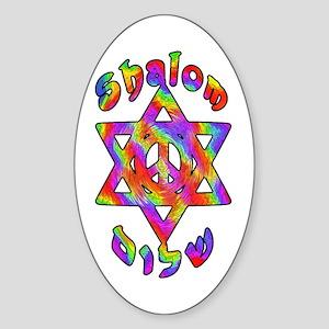 Tiedye Shalom Oval Sticker