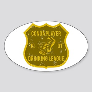 Conga Player Drinking League Oval Sticker