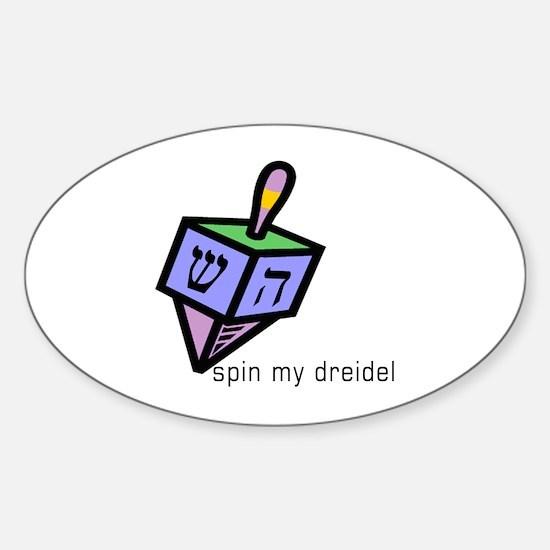 Spin My Dreidel Oval Decal