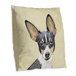 Fox Terrier (Toy) Burlap Throw Pillow