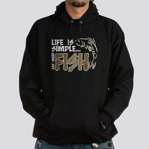 Life Is Simple...FISH Hoodie (dark)