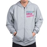 Peace Love and Happiness Zip Hoodie
