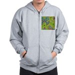 Vintage Distressed Butterfly Garden Zip Hoodie