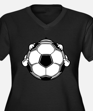 Soccer Baby Women's Plus Size V-Neck Dark T-Shirt