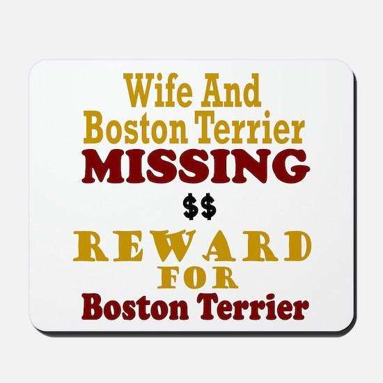 Wife & Boston Terrier Missing Mousepad